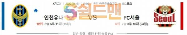 9월16일 K리그 인천유나이티드 : FC서울 분석