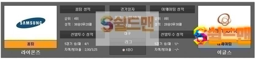 KBO 6월22일 삼성 VS 한화 분석